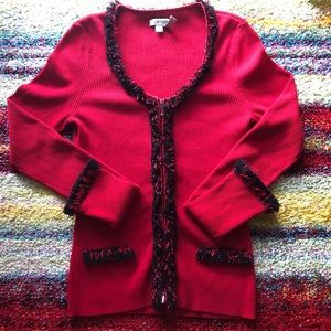 Gorgeous red cardigan with fringes